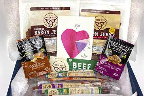 Mom's Gift Box Bacon Jerky Turkey Sticks Beef Sticks Pork Sticks Gluten MSG Nitrate & Nitrite Free Paleo Keto Snacks Healthy Natural Meat Sticks Mother's Day Anniversary - Postcard Bacon