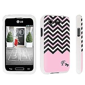 DuroCase ? LG L34C Optimus Fuel / LG Optimus Zone 2 VS415PP Hard Case White - (Black Pink White Chevron F)