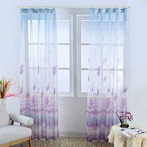 BROSHAN Cotton Linen Sheer Curtains, Modern Elegant Purple Floral Print Sheer Curtain Panels for Bedroom Living Room Window Treatment Purple White Blue, 1 Panel, Nickel Hooks, 98 inches Long