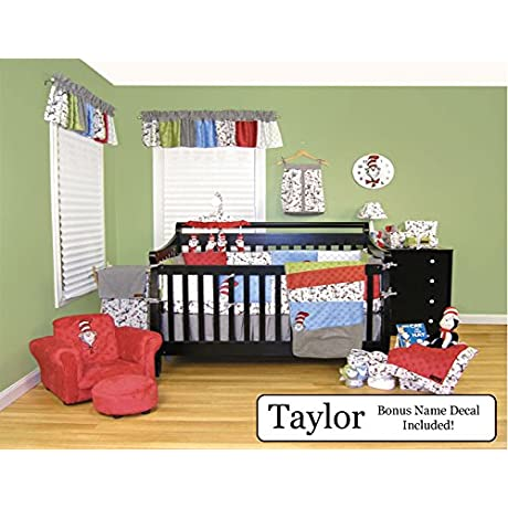 Trend Lab Baby Nursery Bedding Ensemble Set PLUS Personalized Name Decal Dr Seuss Cat In The Hat 4pc Set