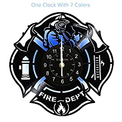 Fire Department Vinyl Record Wall Clock Home Decor LED Wall Clock Interior Design Gift for Firefighter with 7 Colors