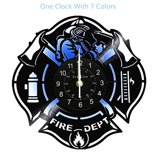 Fire Department Vinyl Record Wall Clock Home Decor LED Wall Clock Interior Design Gift for Firefighter with 7 - Department Antiques Fire