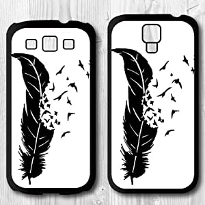 Para Samsung Galaxy S4/S3 caso, aves con Feather carcasa protectora Carcasa para Samsung Galaxy S3 + Protector de pantalla