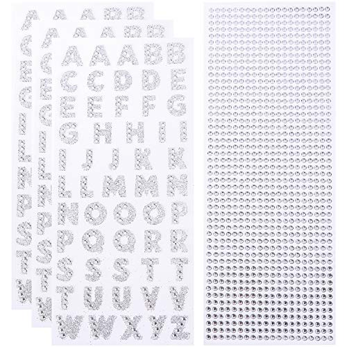 Alphabet Stickers and Rhinestone Stickers for Decoration and DIY Crafts, Glitter Alphabet Stickers for Kids, Teachers, Students. (Silver) (Silver Glitter Sticker Letters)