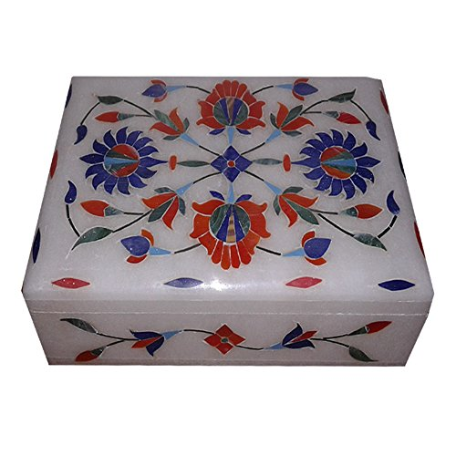 Marble Jewelry Ring Box Inlay Malachite Stone Mosaic Gifts Box 6' X 4