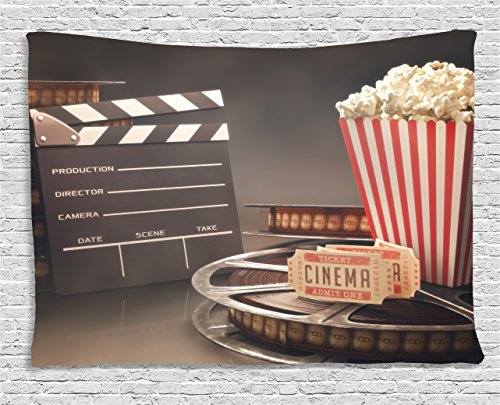 Ambesonne Movie Theater Tapestry, Old Fashion Entertainment Objects Related to Cinema Film Reel Motion Picture, Wall Hanging for Bedroom Living Room Dorm, 60 W X 40 L Inches, Multicolor