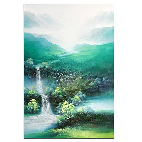 - 100% Hand-painted Mountains-and-waters Landscape oil painting on Canvas by Yqm Art - Original Wall Abstract Art for Bedroom Home Decoration (24x36 Inch)