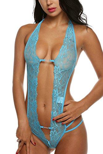 Avidlove Women Lingerie One Piece Jumpsuit Lace Babydoll Halter Sleepwear
