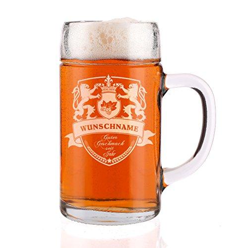 Privatglas 1 Liter Maßkrug graviert mit Löwen Wappen und Wunschname + Geburtsjahr - toll zum Männertag