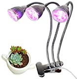 Pustor Three-Head LED Grow Light Clip Grow Lamp For Indoor Plants with 360°Flexible Gooseneck