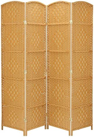 Tall-Extra Wide-Diamond Weave Fiber Room Divider,Double Hinged,6 Panel RHF 6 ft