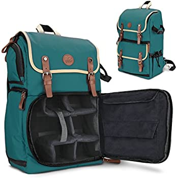 GOgroove Full-size DSLR Camera Backpack Case (Green) for Photography & Laptop Travel Use w/ Accessory Storage , Tripod Holder & Weatherproof Rain Cover for Sony a6000 , Canon EOS T6 , Nikon D5500