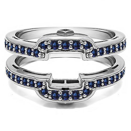 Silver Square Halo Style Wedding Ring Guard with Sapphire (0.49 ct. twt.) by TwoBirch