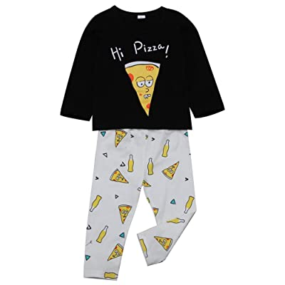 hirigin Baby Boy Girl 2pcs Pizza Clothes Set Long Sleeve Shirt Top+Long Pants Pajama Outfit