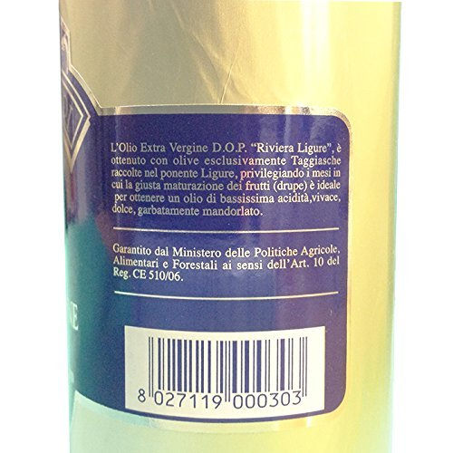 Riviera Ligure extra virgin oil pdo has got by olives called Taggiasche, lt 0,50 (17,6 ounce) x 2 gold cover bottle by Riviera Ligure extra virgin oil P.D.O (Image #2)