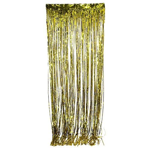 Metallic Gold Foil Fringe Curtain. 3 ft. x 8 ft. Foil(Discontinued by manufacturer) (1920s Party)