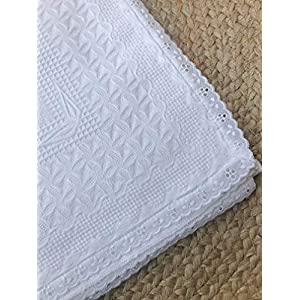 100% Cotton Baby Blanket/Shawl for Newborn Baby (White) – Swaddle Blanket – Baby Shower Gift – Christening Baptism…