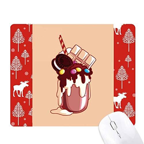 Alfombrilla para mouse con diseño de galletas de chocolate en color crema