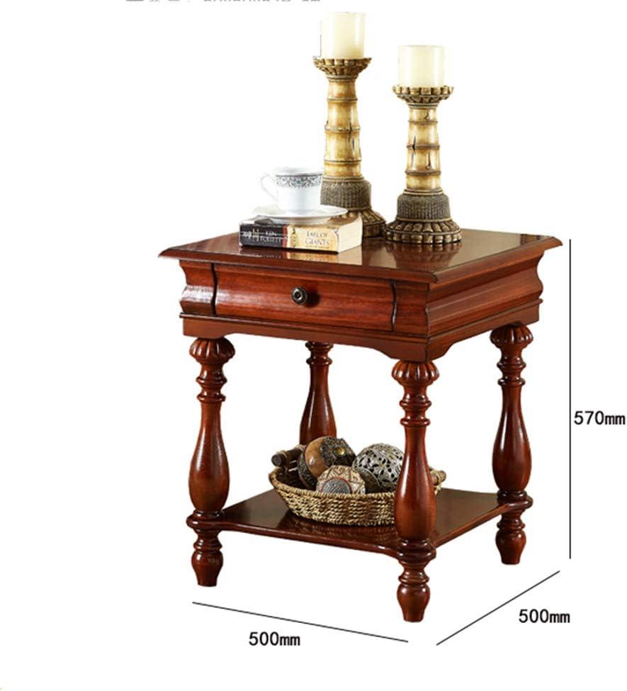 Table XIA Esquina de la Mesa Cuadrado De Madera Gabinete Lateral Sala de Estar Color Nogal 50 * 50 * 57cm: Amazon.es: Hogar