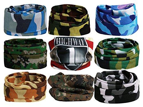 Landisun Headband (9PCS) Face Shield Bandanas Face Scarf Army&Camo Multifunctional Seamless 16-in-1 Sports High Elastic Magic, Outdoor Casual UV Protection