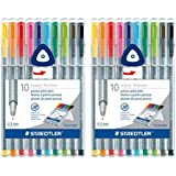 Staedtler Triplus Fineliner Pens, 10pk, Multi - 2 Pack