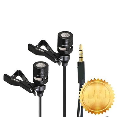 Lavalier Micrófono de solapa con doble cabezal de grabación Clip ...