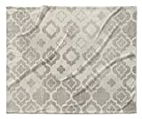 KAVKA Designs Trieste Fleece Blanket, (Grey/Ivory) - ENCOMPASS Collection, Size: 90x90x1 - (TELAVC1475SUB9)