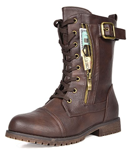DREAM PAIRS Women's Mission Mid Calf Boot, Brown, 8 M US (Calf Brown Boots Mid)