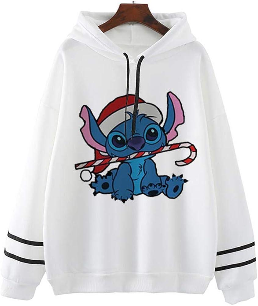 GYJWSBAW Lilo Stitch Abbigliamento Rosa Harajuku Streetwear Felpe con Cappuccio da Donna Pullover Felpe con Cappuccio Oversize Taglie Forti Abiti Bianchi da Donna