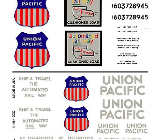 Union Pacific Box Cars Dry Transfer Decals Woodland Scenics