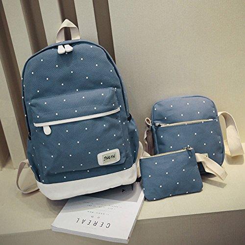 Canvas Backpack Cute School Spots Blue Korean Piece Female Prosperveil Three UfvqndaIw