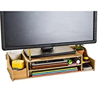 NADAMOO Monitor Stand Desktop Computer Monitor Riser Wooden Adjustable Monitor Riser With Storage 2 Shelves Desktop Organizer For Home Office Yellow