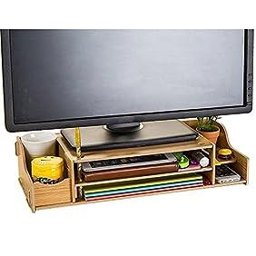 NATAMO Monitor Stand  Desktop Computer Monitor Riser  Wooden Adjustable Monitor Riser with Storage 2 Shelves Desktop Organizer For Home Office Yellow