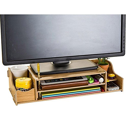 NATAMO DIY Adjustable Eco-Friendly Wood Computer Monitor Riser Stand 2-Tier Desktop Organizer w/Pen Slots, Document Sorter Shelf Letter Tray File Holder Paper Storage for Home/Office ,Wood color