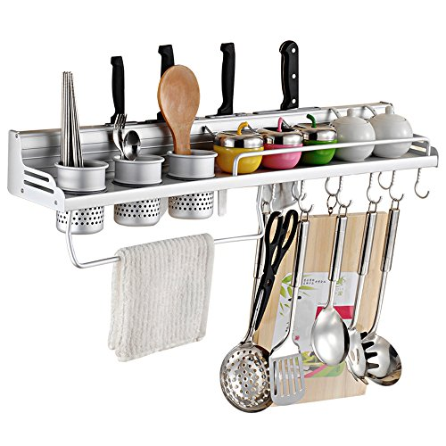 Wall Mounted Pot Pan Rack Multifunctional 6-in-1 Kitchen Bookshelf Storage Rack with Bottle Rack Silverware Caddy Cutlery Blocks Hanger Hooks Pot Organizers Space Aluminum (28inch 3Cups 10Hooks)