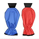 Ice Scraper Mitts Ecooltek Waterproof Window/ Windshield Snow Scraper with Glove&Long Handle Snow Ice Scraper for Car Truck 2 Pack Blue and Red Color