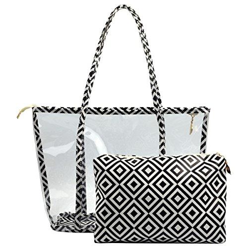 Handbag Women Girls Bag - Clear Purse PVC Transparent Bag Work Handbags for Women Girls (Black)