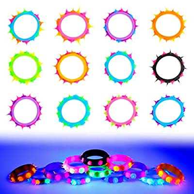 48 Pcs Blacklight Reactive Silicone Rave Stretch Spiky Rings - UV Black Light Fun - Fashion Jewelry Accessories for Women Men Girls Boys - Great for Party Favors, EDM Music Festivals: Sports & Outdoors