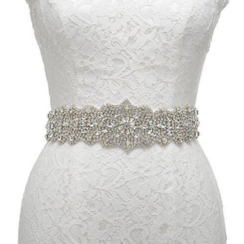 Remedios Exquisite Sash Satin Wedding Party Prom Sash Belt For Women Gifts,White Rhinestone Dress With Crystals