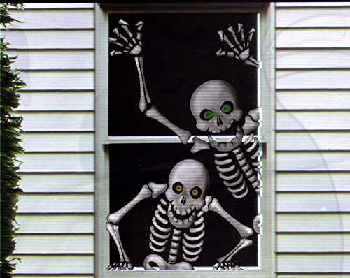 Hilarious Scary Skeletons Window Mural Halloween (Scary Halloween Window Decorations)