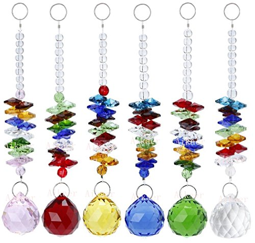 Aiskaer 6pcs Beautiful Colorful Crystal Ball Pendant Chandelier Decor Hanging Prism Ornaments,Crystal Ornament Ball Suncatcher Window Prisms,Feng Shui Faceted Ball]()