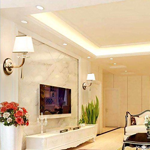 Wall Lamp Stainless Steel Wall Lamp LED Wall Light Crystal Wall Lamp Living Room Bedroom Corridor Fabric Luxury Hotel Bedroom Crystal Wall Lamp by Eif (Image #5)