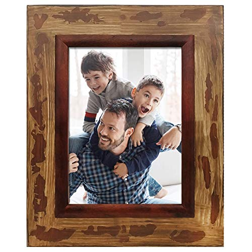 icheesday 6x8 Rustic Handmade Wood Picture Frames for Table Top Display and Wall Mounting Vintage Photo Frame
