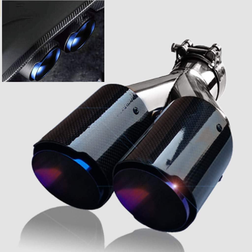 Straight Edge,Noir,Inlet 2.1 TERMALY Fibre de Carbone Embouts D/éChappement,Bleu Torr/éFi/é en Double Embout DEchappement INOX,Voiture Sortie Tuyau Silencieux ,Black-5.4cm