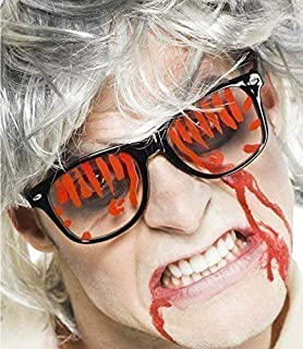 c6761e6975e Ladies Mens Gruesome Geek Mad Scientist Bloody Zombie Glasses Halloween  Fancy Dress