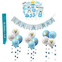 (40pcs) Baby Shower Party Decoration Set for Boy,Baby Shower Photo Props, 'Its A Boy' Banner & Balloons, Mommy to BE Sash,Circle Dots Paper Garland for Birthday Wedding Party Supplies by LASLU