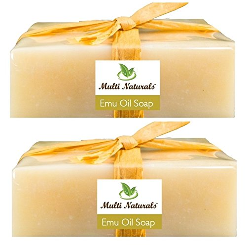 Two Handcrafted Emu Oil Natural Soap Bars (Cold-Processed) with Pure Emu Oil, Coconut Oil, Cocoa Butter, Shea Butter, and Essential Oils from Multi Naturals - Soft and Gentle on skin, Can be used on Sensitive and Acne-prone skin - All Natural, No Synthetic Fragrance, No Harsh Cleansers, No Parabens - Complete Skin Nourishment