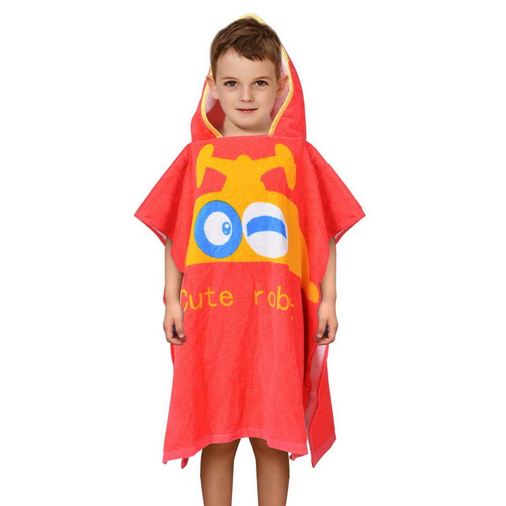 SearchI Kids Hooded Bath Towel for Boys Girls Toddlers Children Age 2 to 6 Years 23Wx24L inch Cotton Soft Absortbent Hooded Poncho Towel for Bath Shower Pool Swim Astronaut Cartoon