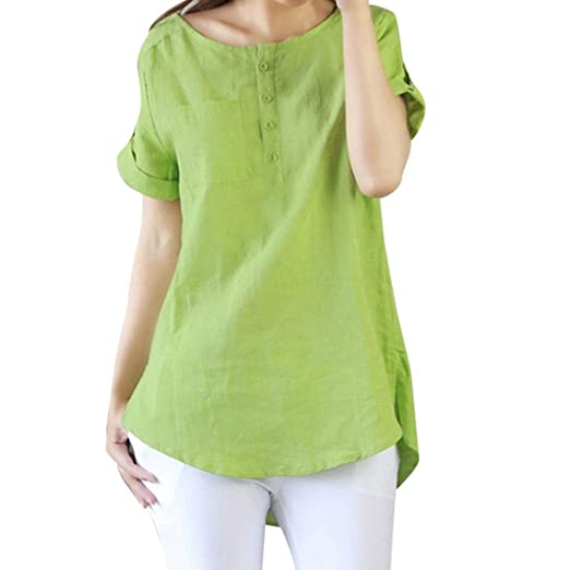 e22a24393a BCDshop Women New Summer Short Sleeve T Shirt Casual Loose Cotton Linen  Blouse Tops (Green