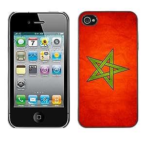 TopCaseStore / la caja del caucho duro de la cubierta de protección de la piel - Marocco Grunge Flag - Apple iPhone 4 / 4S